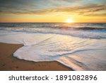 Sandy Seashore At Sunset....