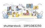 diverse people online call as... | Shutterstock .eps vector #1891083250