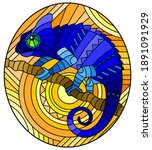 illustration in stained glass... | Shutterstock .eps vector #1891091929