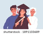 happy graduated female student... | Shutterstock .eps vector #1891103689