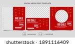 set of editable square banner... | Shutterstock .eps vector #1891116409