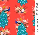 Seamless Pattern With Peacock...