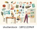 frozen food concept. people cut ... | Shutterstock .eps vector #1891123969