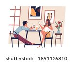 young modern couple with... | Shutterstock .eps vector #1891126810