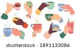 woman hands with beverage cups. ... | Shutterstock .eps vector #1891133086