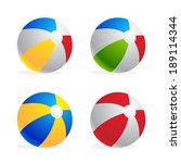 multicolored beach ball set... | Shutterstock .eps vector #189114344