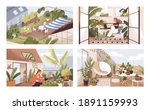 set of gardens at terraces ... | Shutterstock .eps vector #1891159993