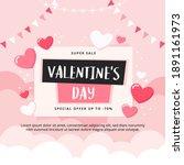 valentine's day sale banner... | Shutterstock .eps vector #1891161973