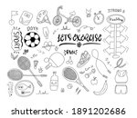 let s exercise doodle set on... | Shutterstock . vector #1891202686