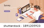 woman sitting at desk and... | Shutterstock .eps vector #1891205923