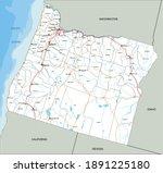 high detailed oregon road map... | Shutterstock .eps vector #1891225180