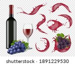 wine splashes. liquid red drops ... | Shutterstock .eps vector #1891229530