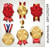 red stamp wax seal with golden...   Shutterstock . vector #1891250299