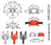 set of retro seafood  crab ... | Shutterstock .eps vector #189130214
