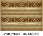 decorative elephants  flowers... | Shutterstock . vector #1891303843