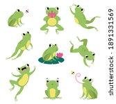 cute green frog jumping ... | Shutterstock .eps vector #1891331569