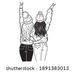 two best friends hugging with... | Shutterstock .eps vector #1891383013