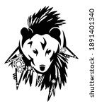wild totem bear head with...   Shutterstock .eps vector #1891401340
