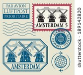 stamps set with word amsterdam... | Shutterstock .eps vector #189142820