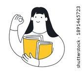 cute cartoon woman with books...   Shutterstock .eps vector #1891465723