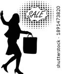 silhouette of a woman on sale... | Shutterstock .eps vector #1891473820