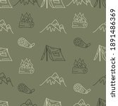 vintage hand drawn camping... | Shutterstock . vector #1891486369