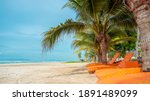 Orange Beach Chairs And Coconut ...