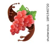 red grape branch in chocolate...   Shutterstock .eps vector #1891540720