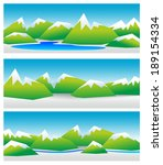 different mountain landscapes... | Shutterstock . vector #189154334