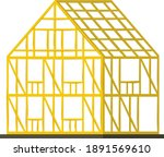 Concept wooden building frame, construction personal household edifice cartoon vector illustration, isolated on white. Architectural engineering cottage skeleton, one story premise icon. - stock vector