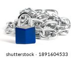 A Blue Padlock In Front Of A...