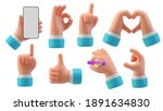 hands gestures 3d cartoon...