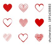 red heart hand draw collection | Shutterstock .eps vector #1891638883