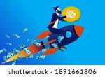 bitcoin going up   man on...   Shutterstock .eps vector #1891661806