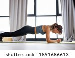 asian woman doing plank at home ... | Shutterstock . vector #1891686613