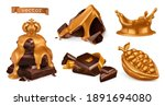 gold and chocolate. 3d vector...   Shutterstock .eps vector #1891694080