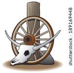 Steer Skull Against Wagon Wheel