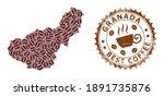 Coffee Mosaic Map Of Granada...