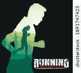running silhouettes vector...   Shutterstock .eps vector #1891747423