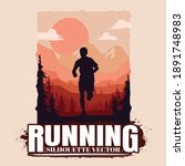 running silhouettes vector...   Shutterstock .eps vector #1891748983