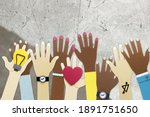 diverse arms raising in... | Shutterstock . vector #1891751650