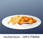 nuggets and chips on plate...   Shutterstock .eps vector #1891758886