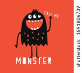 Cute Monster Drawn As Vector...