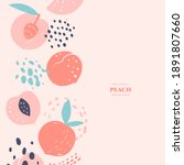 vector frame with doodle peach...   Shutterstock .eps vector #1891807660