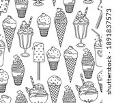 ice cream seamless pattern.... | Shutterstock .eps vector #1891837573