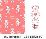 lovesick toy bear pink seamless ... | Shutterstock .eps vector #1891852660