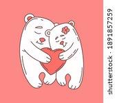 a couple of bears in love. cute ... | Shutterstock .eps vector #1891857259