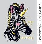 Fashion Zebra With Gold Unicorn ...