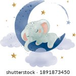 cute little elephant sleeping...   Shutterstock .eps vector #1891873450