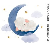 cute little sheep sleeping on... | Shutterstock .eps vector #1891877383